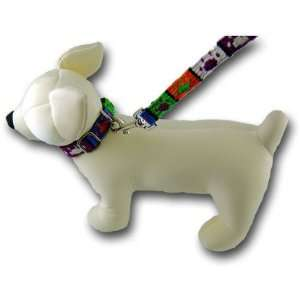 Mayan Style Paw Print Dog Puppy Collar and Matching Leash, Medium