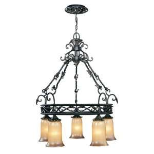 Chelsea Collection Hanging Five Light Fixture In Wrought Iron Finish