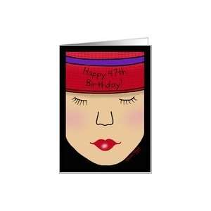 Red Hat Lady Face Birthday 47th Card Health & Personal