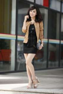 Women Slim fit Puff Sleeves Suit Blazer Jacket Coat Blacks, Browns M