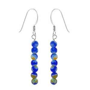 Silver Dark Blue Murano Glass Millefiori 4mm Bead Earrings Jewelry