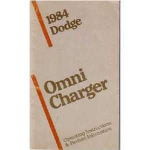 1984 DODGE OMNI CHARGER Owners Manual User Guide