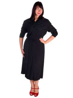 Vintage Black Rayon Dress Beaded Front 1940s C.H.D.Robbins 46 35 46