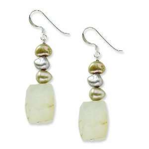 Silver Moonstone & Cultured Freshwater Pearl Earrings Jewelry