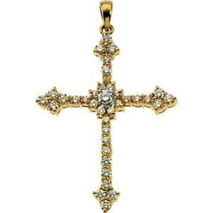 14K Yellow Gold Diamond Cross Pendant   1.25 Ct. Jewelry