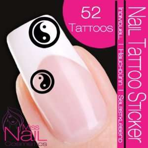 Nail Tattoo Sticker Yin Yang   black Beauty