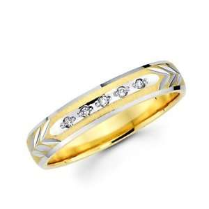 Size  12   .05ct Diamond 14k Yellow Two Tone Gold Wedding Ring Band (H