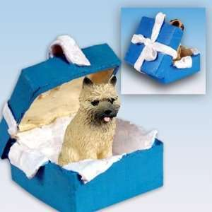 Cairn Terrier Blue Gift Box Dog Ornament   Red
