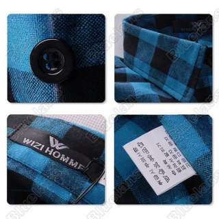 Slim Fit Casual & Dress Plaid Check Shirt Korean Style Blue Red Black
