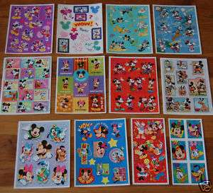 12 Sheets Disney MICKEY Mouse HUGE LOT Stickers