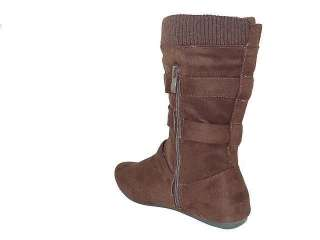 Fashion Women Mid Calf Boots 3 Strap Buckle Design West Cowboy Ladies