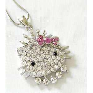 Dazzling Bling Crowned Hello Kitty Princess Crystal Pendant & Necklace