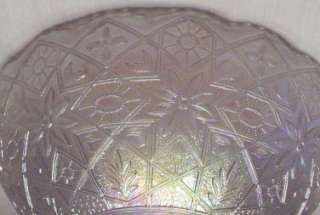 IMPERIAL WHITE CARNIVAL GLASS HATTIE BOWL