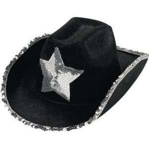 Black sequin Cowboy hat with silver star Toys & Games
