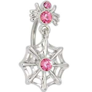Spider and Web Dangle Passion Pink Gem Belly Button Ring