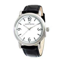 Anne Klein Womens Black Leather Strap Watch