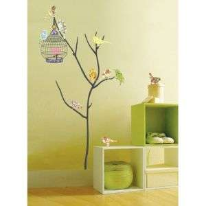 PS58073 BIRD & CAGE WALL ART DECO MURAL DECALS STICKER