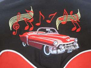 LADIES XS RED BLACK MUSIC NOTES CADILLAC WESTERN SHIRT