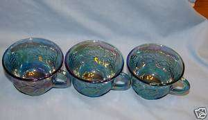 12 Iridescent Blue Carnival Glass Punch Bowl Cups,