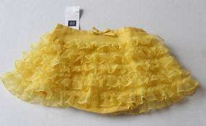 Baby GAP Girls Yellow Tulle Ruffle Skirt Sizes 3M 24M