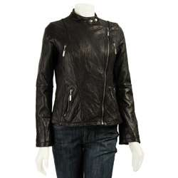 MICHAEL Michael Kors Womens Leather Biker Jacket