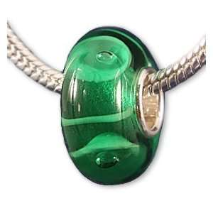 Go Green Murano Glass Style Charm Bead Fits European Bead