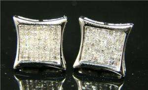 MENS LADIES PRINCESS CUT DIAMOND STUD EARRINGS .90 CT