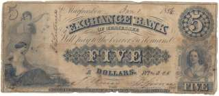 PRE Civil War EXCHANGE BANK OF TENNESSEE $5 Dollar BANK NOTE