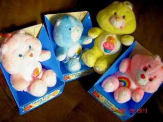VINTAGE CARE BEARS IN BOX BABY HUGS TUGS BIRTHDAY CHEER PLUSH STUFFED