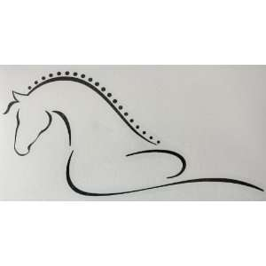 Sm Black Line Art Flowing Braided Mane Horse Vinyl Car Decal Sticker