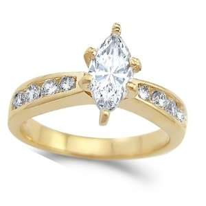CZ Marquise Engagement Ring 14k Yellow Gold Bridal Cubic Zirconia 1.25