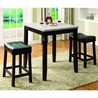 Espresso color 3 Piece Counter Height Pub Table Set