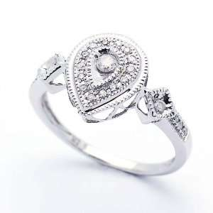 Wedding & Engagement Ring 0.18ct Diamond Pear Shaped Ring 12MM ( Size