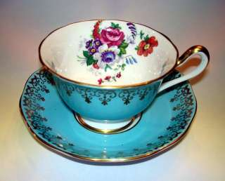 Royal Albert Light Blue & Floral Tea Cup and Saucer Set