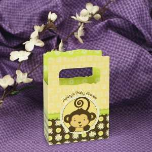 Monkey Neutral   Mini Personalized Baby Shower Favor Boxes