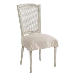 Pair French Country Antique White Shabby Chic Slip Cover Dining Chair
