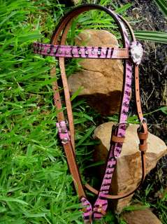 WESTERN LEATHER HEADSTALL PINK ZEBRA BLING SILVER PINK ZEBRA TACK