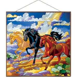Three Horses Glass Art Panel, 19 1/2 by 19 1/2 Inch