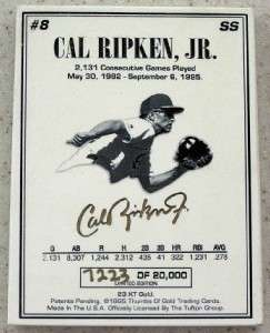 1995 CAL RIPKEN JR 23 karat GOLD Thumb Print 7223/20000 Ceramic Card