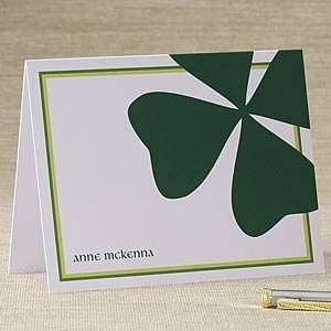 Personalized Irish Shamrock Note Cards & Envelopes Health