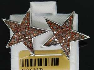 LADIES WHITE GOLD .7C RED DIAMOND STAR STUD EARRINGS