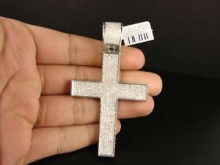 85 CT MENS WHITE GOLD FINISH DIAMOND XL CROSS PENDANT