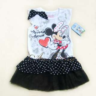 Girls Kids SZ 4 5 6 7 Minnie Mouse Costume Summer Dress Polka Dots