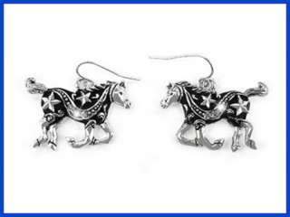 Western Cowgirl Jewelry Silver/Black Horse Earrings