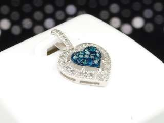 10K LADIES WHITE GOLD BLUE DIAMOND LOVE HEART SHAPE PENDANT CHARM FOR