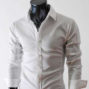 STL) Mens casual slim fit basic dress shirts WHITE