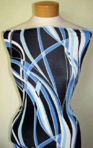 LAST PIECE PERIWINKLE WHITE & BLACK SWIRLY PRINT LYCRA STRETCH FABRIC