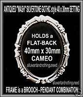GOTHIC ANT SILVERTONE 40 x 30mm CAMEO SETTING FRAME W