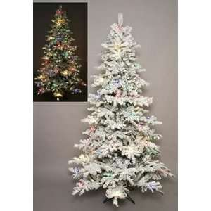 90 Blizzard Flocked Snowy Christmas Tree Prelit Colored