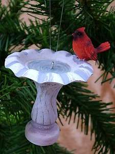 New Red Cardinal Birdbath Christmas Tree Ornament